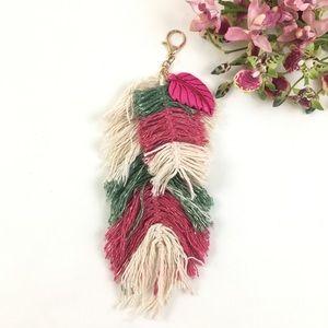 Handmade Leaf Tassel Boho FOB Keychain